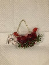 Ganz RED Kissing Krystals Christmas 2 Birds Ornament New With Tag
