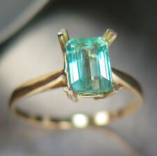 1.5ct Natural Aquamarine Beryl Paraiba blue emerald cut 9ct 375 yellow gold ring