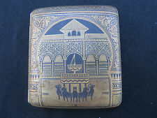 Vintage Damascene Cigarette Case Box Spain Granada Lion Fountain Silver Gold