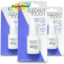 3x Elegant Touch Ultra Strong Quick Drying Brush On Nail Glue 6ml Clear