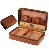 COHIBA Brown Travel Leather Cedar Cigar Case Humidor Box Set 4 Count Protable