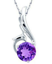 Sterling Silver Animal Peacock Wing Heart Amethyst Pendant Necklace Chain H11