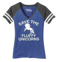 Ladies Save The Fluffy Unicorns Game V-Neck Tee Fat Chubby Horse Shirt