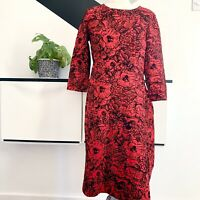LANDS END Dress Size M  RED BLACK | SMART Occasion WEDDING Cruise RACES FLOCKED
