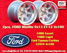 2 Cerchi FORD LOTUS TALBOT Minilite 9x13 ET-12 4x108 Wheel Felgen Llantas Jantes