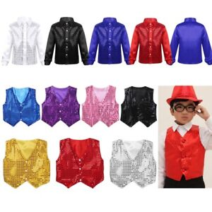 Kid Boy Children Dance Waistcoat Party Show Costume Glittery Sequined Vest Shirt