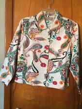 Life Style Petite Cream Green Rust Yellow Beads Sequins Jacket Blazer PL