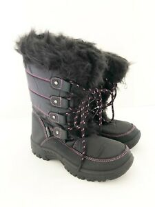 New Kids Red Rock Black Insulated Mid Calf Length Snow Boots UK Size 3