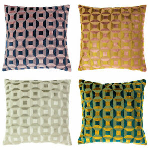 Paoletti Empire Geometric Jacquard Velvet Cushion Cover