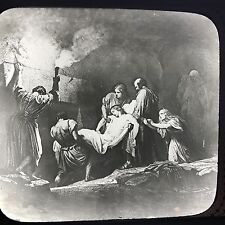 Antique Magic Lantern Glass Slide Photo  Christ Laid In The Tomb