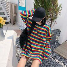 Women Rainbow Striped Cotton T-shirt Loose Harajuku Top Long Sleeve Punk Fashion