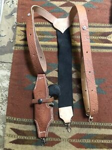 LEFT HAND Leather Suspenders w Cobra / Davis Derringer Holster Metal Pant Clips