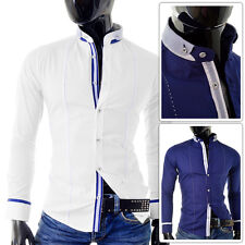 WHITE BLUE Men's Shirt | Grandad Collar Finishings Stitching | FREE & FAST POST!