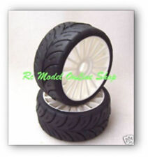 SP 1/8 Belted GT Tires mounted on White Rims 17mm -Medium- 2 per pack  GTB RT4w