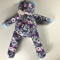 "Floral Teddy Bear Original Large 23"" Stuffed Flowers Purple Button Eyes Plush"