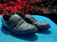 Vintage Hush Puppies Gunpowder Pewter Gray Leather Loafers Mens Sz 6.5 �� ts17j