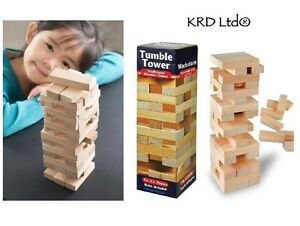 Kids Traditional Wooden Stacking Tumble Tower Wood Board Game Tumbling Block Toy