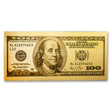 1 gram Gold Note - $100 Replica (Benjamin Franklin Design, 24K) - SKU #104033
