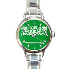 Women's Saudi Arabia Saudi Arabian Flag Italian Charm Watch Bracelet Analog