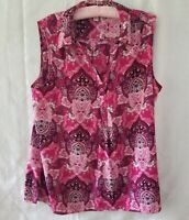 Donna Bushman women sleeveless top tunic length size XL pink floral print pre O