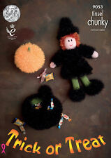 King Cole 9053 Witch Cauldron & Pumpkin Halloween DK Knitting Pattern