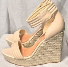 Badgley Mischka Cream Leather Round Strap W/Hemp Wedge Size 9.5