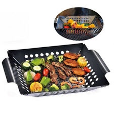 Non-Stick BBQ Square Grill Pan Barbecue Grill Plate Vegetable Basket Tray Steel