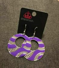 "NEW PAPARAZZI VINTAGE ""DAZED AND CONFUSED"" CIRCLE PURPLE EARRINGS HTF"