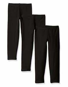 Girls Legging 3 Pack Hanes Tag Free Cottony soft Stretch Black Navy White XS XL