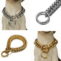 16/19mm Heavy Dog Collar Stainless Steel Double Curb Chain for Training Walking