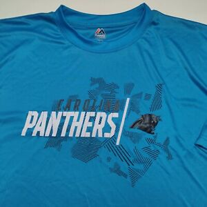 Majestic NFL Carolina Panthers Men's Big & Tall 2XLT Blue Poly Graphic Tee NEW