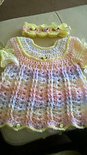 Hand Crochet Baby Reborn Doll Dress and Headband Set CUSTOM Any Colour and Size