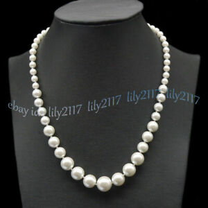 6-14mm White South Sea Shell Pearl Round Beads Necklace 16-28 inches