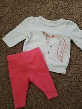 Baby Girl Outfit Size 3 Months, Unicorn Sweatshirt, Coral Leggings