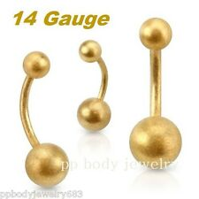 """Gold Ip Surgical Steel Navel Ring 1pc. 14g~5/16"""", 3/8"""", 7/16"""", 1/2"""" Brushed"""