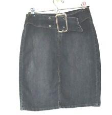 1990s vintage lei stretch blue jean pencil denim skirt mod belt size 3 small