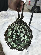 Antique Japanese Large Glass Fishing Float Buoy Ball Roped Net rare. Kwajalein?