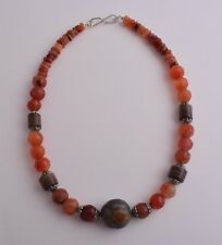 Antique banded agate /  Carnelian / sterling silver Necklace choker / SALE