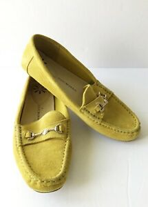 Isaac Mizrahi Womens Yellow Suede Loafers Horse Bit Shoes Preppy Sz 8.5