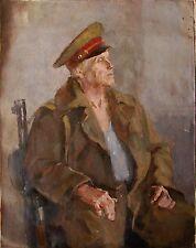 Russian Ukrainian Soviet Oil Painting male portrait realism military man soldier