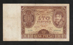 100 ZLOTYCH VG BANKNOTE FROM  POLAND 1934 PICK-75