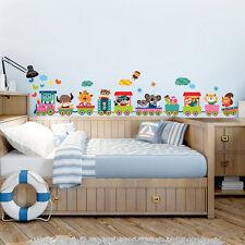 R00395 Wall Stickers Adesivi Murali Camerette Baby treno del bosco 120x30 cm