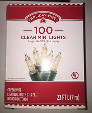 100 Mini Clear-Color Christmas Tree String Lights Green Wire Can Twinkle/Blink