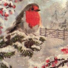 paper napkins decoupage x 2 Christmas Robins 25cm