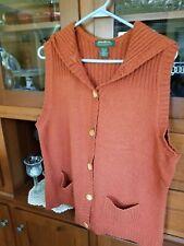 Eddie Bauer Women Angora-Blend Sweater Vest Sz Xl Orange Speckled Wood Buttons