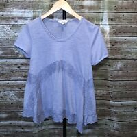 M | Cloud Chaser Blue Trapeze Top Lace Detail Short Sleeve Boho Loose