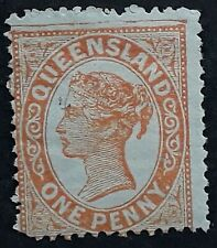 1895 Queensland Australia 1d Orange Red 3rd sideface Stamp Thin paper Mint