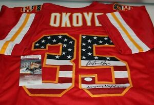 Christian Okoye Autographed Signed Kansas City Chiefs Red USA CUSTOM Jersey JSA