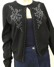 ALFANI Size S small~ Black Beaded Silk/Nylon SWEATER lined~Hook or Open Style