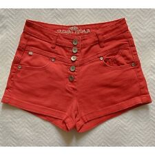 Almost Famous Womens Jeans Shorts Size 5 W26 Red Jean Stretch Mid Rise Button Up